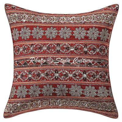 Stylo Culture Indian Scatter Cojines 40x40 cm Lentejuelas Zari Work Sequins Zari Fundas de cojín 16 X 16 Cotton Red Traditional Floral Cojines Cuadrados
